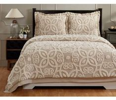 Better Trends Eden Collection in Floral Design Linen & Ivory Full/Queen Cotton Tufted Chenille Comforter Furniture, Comforter Sets, Comforters, Home, Bedroom Interior, Bed, Twin Size Comforter, King Size Comforter Sets, Twin Comforter Sets