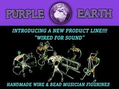 Introducing Wired For Sound! Awesome miniature wire and bead musician figurines from Purple Earth! Gift For Music Lover, Music Lovers, Handmade Handbags, Handmade Wire, Wire Art, How To Make Beads, New Product, Upcycle, Birthday Gifts