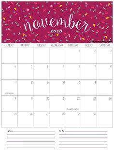 Blank Free Printable Calendar November 2018 Design