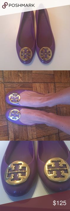 Tory Burch Jelly Flats Super cute Tory Burch Reva Jelly Flats! Have a few tiny scuffs seen in the pictures but can't be seen when wearing them! Super cute but I don't wear them much anymore! Tory Burch Shoes Flats & Loafers