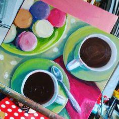 Coffee and macarons today, New Media, Macarons, Art Decor, Fine Art, Coffee, Artist, Painting, Kaffee, Artists