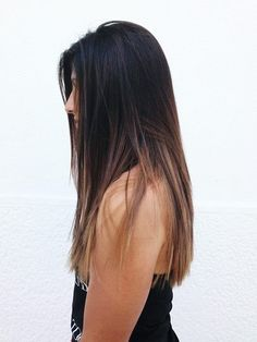 ombre hair from black to light caramel