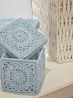 Transcendent Crochet a Solid Granny Square Ideas. Inconceivable Crochet a Solid Granny Square Ideas. Crochet Storage, Crochet Box, Crochet Squares, Crochet Granny, Crochet Gifts, Crochet Motif, Crochet Stitches, Free Crochet, Knit Crochet
