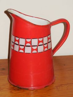 ANTIQUE FRENCH ENAMELLED PITCHER - Authentic enamelware graniteware - RED/WHITE