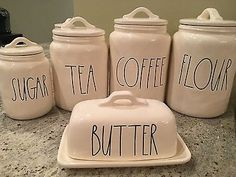 "New Magenta Rae Dunn ""COFFEE"" ""FLOUR"" ""TEA"" ""SUGAR"" Canisters w/ Butter Dish"