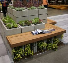 Cinder Block Succulent Planter with Integrated Bench