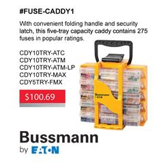 Great Gift Idea!  Have all the fuses that you need with this kit! It's on sale for $100.69 until Nov 30, 2017.   Bussmann series fuse caddies offer a full array of fuses for automotive repair facilities to meet fuse replacement needs. Each caddy is specially stocked to cover the majority of cars, vans, light trucks, SUVs and RVs on the road today. Select from the five-tray caddy or the more comprehensive ten-tray caddy to offer your customers a convenient and secure means to store and…