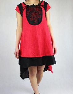 Women Summer dress asymmetric ethnic linen dress in Red