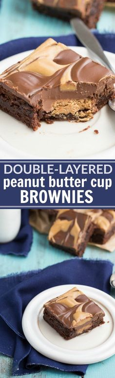 The ultimate BEST EVER doubled-layered peanut butter cup brownies! Read the rave reviews!! via chelseasmessyapron.com