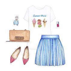 Printed T-shirt, denim skirt, brown bag, pink flats