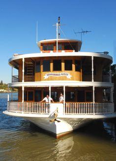 #kookaburra #river #queen #brisbane River Queen, High Tea, Brisbane, Cabin, Mansions, Cruises, House Styles, Boats, Queens