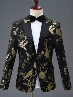 New Design Men Stylish Embroidery Royal Blue Green Red Floral Pattern Suits Stage Singer Wedding Groom Tuxedo Costume Dress Suits For Men, Men Dress, Mens Fashion Suits, Mens Suits, Men's Fashion, Dinner Suit, Mode Costume, Designer Suits For Men, England Fashion