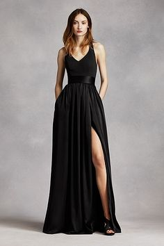 V Neck Halter Gown with Sash VW360214