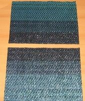 Hand woven Waves- placemats (cotton / video cassette tape).