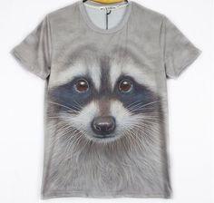 Barato Grátis frete novo 2015 mulheres / homens 3D engraçado o Raccoon manga curta T shirt personalizado criativas Sexy Top Tees, Compro Qualidade Camisetas diretamente de fornecedores da China: