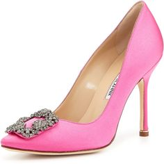 Manolo Blahnik Hangisi Satin Crystal-Toe Pump, Pink, $965.00 Because a girl ALWAYS needs a great pair of timeless pink pumps!!