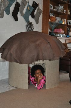 Ethiopian house I built for my daughter for Christmas for her Ethiopian doll.  ( American girl size)