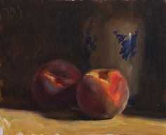 daily painting titled Peaches and Delft vase