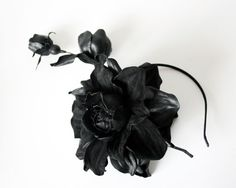 Black leather rose headband  Made to Order