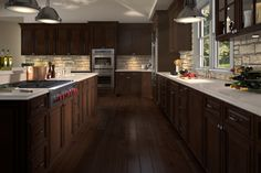 Cabinet Style - Brownstone Material  /  Solid Birch style and dark glaze finish, this kitchen screams comfort ability ! Shop RTACabinetsNMore.com
