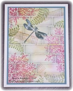 handmade card .... faux tile look ... embossing folder bricks with collage style stamping done after embossing to make the white lines show ... dragonfly ... lovely look ... Stampin' Up!