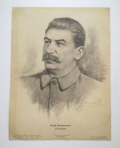 Genuine War 1943 Russia USSR Poster Stalin Original WW2 WWII Portrait Propaganda | eBay