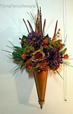 Flower Floral Arrangement Wall Pocket Decor Feathers, Plum, Gold,Terracotta