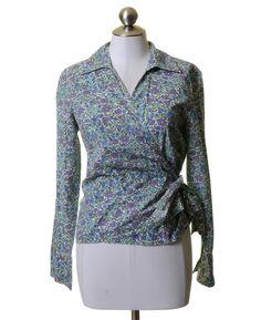 Coldwater Creek Blue Purple & White Floral Print Cotton Wrap Style Blouse Size S
