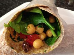 Curry Chickpea Wraps (make the chickpea salad ahead of time and keep it for lunches in the fridge all week)