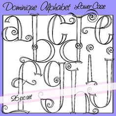 Dominique Alphabet Lower Case - Personal and Limited Commercial Use Hand Lettering Alphabet, Doodle Lettering, Calligraphy Letters, Alphabet Fonts, Alphabet Letters, Lettering Ideas, Cute Writing, Fancy Writing, Clipart