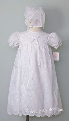 Traditional White Satin Long Christening Gown with Bonnet 0 3 6 9 12 Months