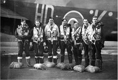 1944 Shows a Halifax Squadron crew prior to a raid on Germany. They are: P/O J. R. Brookes, Sgt. L. H. Cary, Sgt. A. M. Stark from Brighton, Victoria, Sgt. G. K. McDowell from Maryborough, Queensland, F/Sgt. C. R. Wilson from Clarence Park, South Australia, F/Sgt. W. F. Towler from Pintarra, Western Australia and F/Sgt. A. F. Baldick from Lindfield, Sydney. SLV