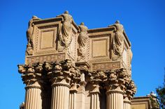 Bernard Maybeck's Palace of Fine Arts. The weeping women statues on the top of the colonnades were created by sculptor Ulric Ellerhusen to express the sadness and melancholy of life without art. San Francisco Art, Living In San Francisco, Francis Of Assisi, St Francis, Palace Of Fine Arts, Gothic Wedding, The Dreamers, Fine Art America, Architecture Design