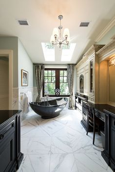 This Master Bath is exquisite. That tub in front of the fireplace is absolutely delicious.