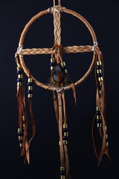 Braided Medicine Wheel with Blue Beads