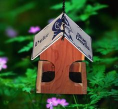 Duke Blue Devils License Plate Bird Feeder | A gift for the sports fan in your life! Hand made in the USA from cedar wood.  #NCAA #duke #bluedevils #birdfeeder