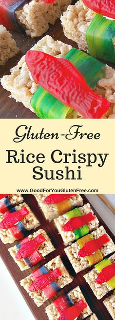 Gluten-Free Rice Crispy Treat Sushi Gluten-Free Rice Crispy Dessert Sushi Treats - Good For You Gluten Free - gluten-free Rice Krispie Treats, Rice Krispie Treats recipes, gluten-free dessert recipes Gluten Free Sushi, Gluten Free Party Food, Best Gluten Free Recipes, Gluten Free Rice, Gluten Free Desserts, Rice Krispies Gluten Free, Healthy Recipes, Rice Krispy Treats Recipe, Rice Crispy Treats
