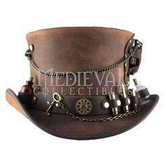 A steampunk explorer never knows what they are going to need on their journey, which is why this hat has a bit of everything. The Steampunk TimePort Top Hat is a leather accessory that ensures that you are well-prepared and styled.