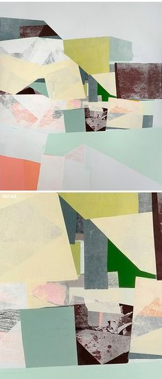 jessica bell - mixed media Idea: paisajes abstractos con collage + color/dibujo.