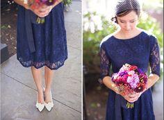 Vintage style tea dress navy blue