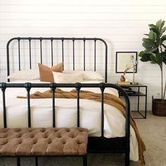 Bedding Master Bedroom, Bedroom Black, Black Bedding, Home Bedroom, Bedroom Decor, Bedroom Inspo, Bedrooms, Black Iron Beds, Black Metal Bed Frame