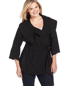 Calvin Klein Plus Size Belted Wrap Jacket