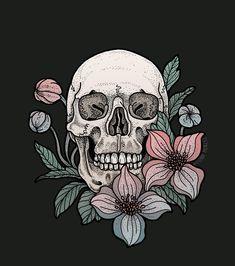 None of these images are mine =) Beau Message, Skeleton Art, Skull Wallpaper, Desenho Tattoo, Skulls And Roses, Flower Skull, Anatomy Art, Skull Art, Cute Wallpapers
