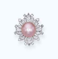 A RARE NATURAL COLOURED PEARL AND DIAMOND RING, BY CARTIER  The purplish-pink natural pearl measuring 13.2 x 11.5 mm to the square, baguette and marquise-cut diamond snowflake surround, mounted in palladium, circa 1950.