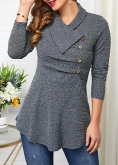 Button Detail Long Sleeve Grey Sweatshirt Women Clothes For Cheap, Collections, Styles Perfectly Fit You, Never Miss It! Trendy Tops For Women, Coats For Women, Collared Sweatshirt, Fashion Outfits, Womens Fashion, Fashion Coat, Casual Tops, Pull, Korean Fashion