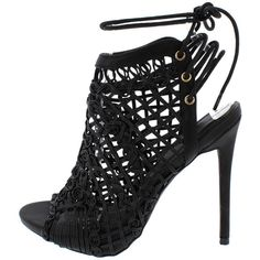 HAILEY BLACK OPEN TOE EXPOSED HEEL BRAID DETAIL DESIGN LACE UP FASHION... ($11) ❤ liked on Polyvore featuring shoes, lace up shoes, wedge heel shoes, wedge shoes, lace up flat shoes and woven shoes