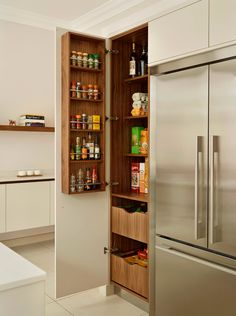 Favorite Kitchen Trends and Updates with Huge Impact - Kitchen Pantry Cabinets Kitchen Pantry Design, Kitchen Pantry Cabinets, Kitchen Interior, New Kitchen, Kitchen Storage, Kitchen Organization, Organization Ideas, Ikea Storage, Kitchen Ideas