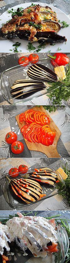 Как приготовить баклажаны с сыром и чесноком - баклажанный веер - рецепт, ингридиенты и фотографии
