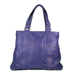 Dellamoda Handbag Colby Tote Purple Designer Bag (DM60) - Find the largest selection of purple designer handbag on sale. material leather, color purple, Full lined interior, brass studs detail on front & back, magnetic to closure, interior leather pockets and zipper lining.