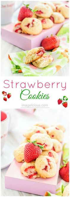These Strawberry Cookies are very soft and have cake-like texture with little morsels of fruit, like little strawberry filled clouds or pillows. Absolutely perfect way to enjoy strawberries this summer | Imagelicious
